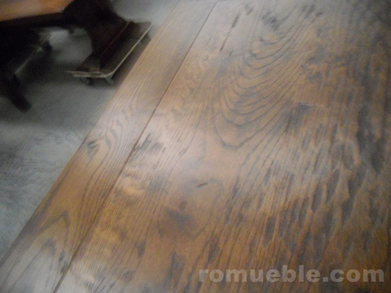 MESA ROMUEBLE -ROBLE MACIZO 145 x 85 + 2 EXT DE 40 -GUIAS SINCRO