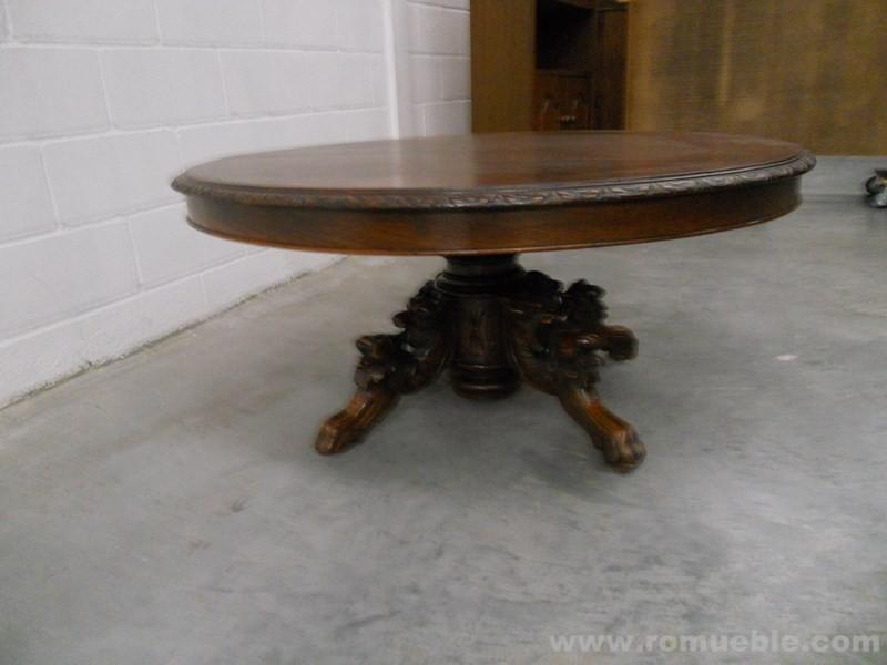 Antigua mesa centro roble talla m 1 5 for Mesas antiguas rusticas