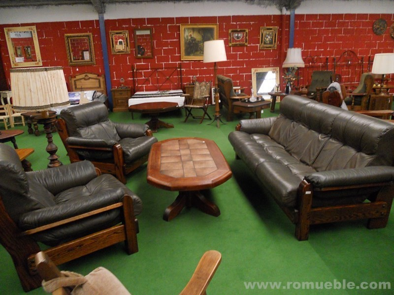 conjunto sofa rustico de piel y roble h