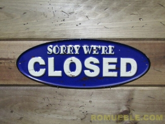 Cartel CLOSED  Metal Retro Vintage 40x15